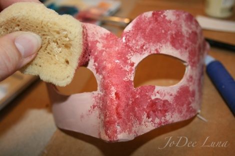 sponging paint onto mask