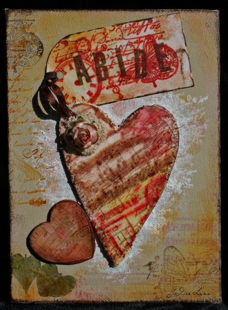 Abide Mixed Media Heart