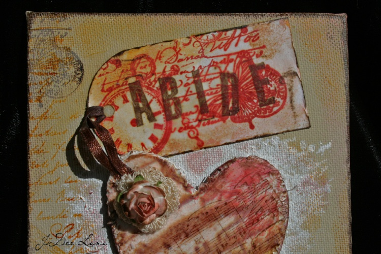 Abide Mixed Media Heart by JoDee Luna