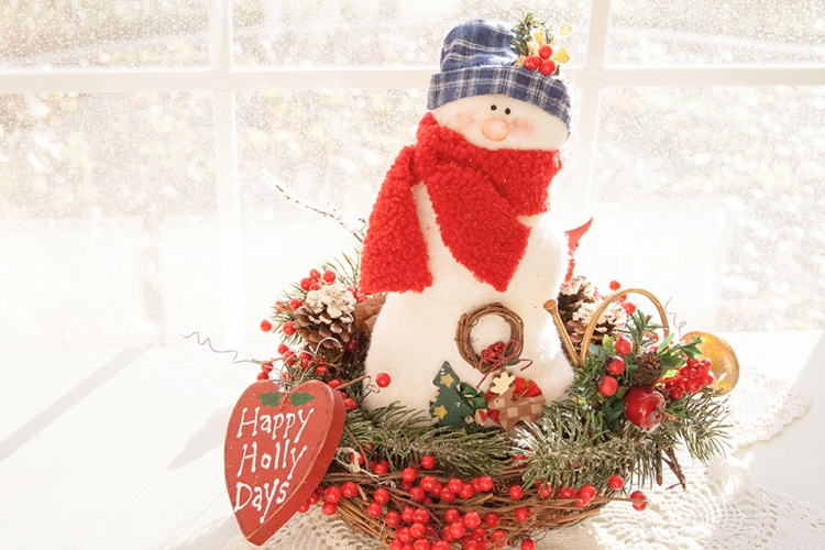 Happy Holly Days Snowman Greeting Card
