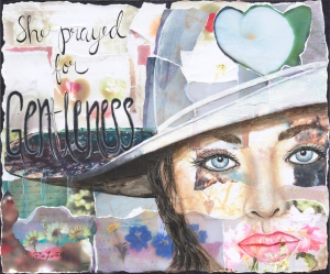 Gentleness envisions this precious attribute with a fountain of water pooling in a woman's white hat.