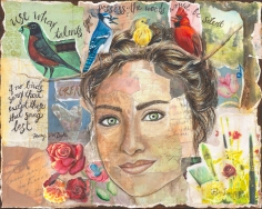 Use your Talents reminds us to pursue our passions imperfectly. This piece visualizes Henry Van Dyke's poem with colorful birds perched on a branch woven through a woman's hair.